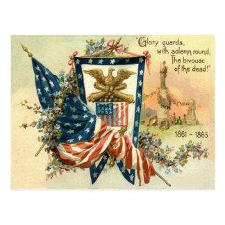 US Flag Flower Civil War Eagle Memorial Day Postcard