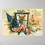 US Flag Flower Civil War Eagle Memorial Day Poster