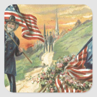 US Flag Flowers Union Soldier Church Square Sticker