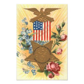 US Flag Forget Me Not Rose Medal Photo Print