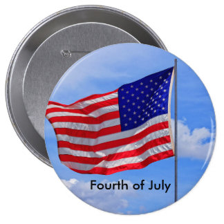 US Flag Fourth of July Button
