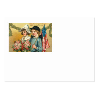 US Flag Garland Victorian Children Bouquet Rose Large Business Cards (Pack Of 100)