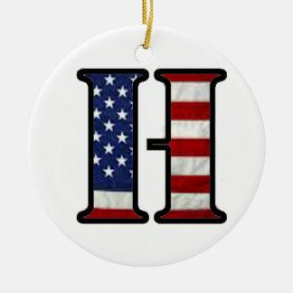 """US Flag """"H"""" Ceramic Ornament"""