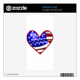 US Flag Heart #2 iPhone 4S Decal