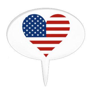US Flag Heart Cake Pick