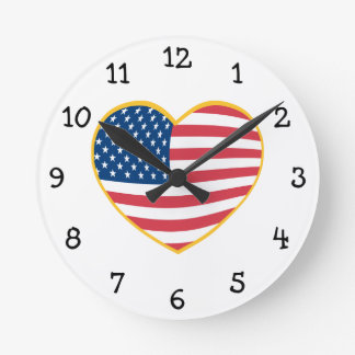 US Flag Heart Round Clock