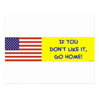 us flag if you don't like it go home postcard