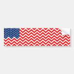US Flag in Chevron Waves Bumper Stickers