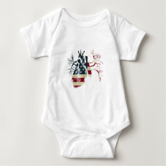 US Flag in Real heart Baby Bodysuit