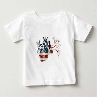 US Flag in Real heart Baby T-Shirt