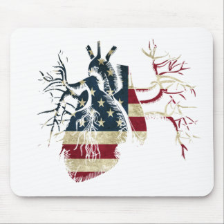 US Flag in Real heart Mouse Pad