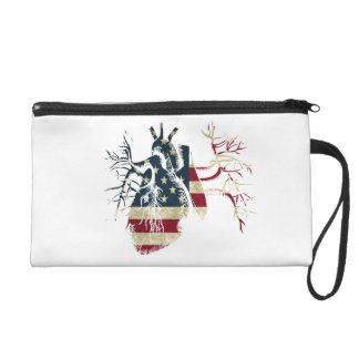 US Flag in Real heart Wristlet