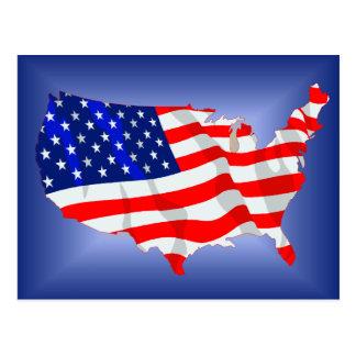 US Flag in shape of lower 48 Postcard
