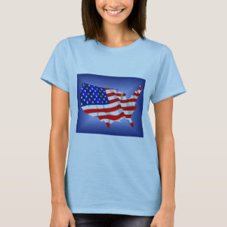US Flag in shape of lower 48 T-Shirt