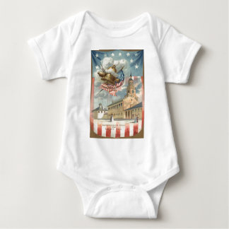 US Flag Independence Hall Liberty Bell Baby Bodysuit