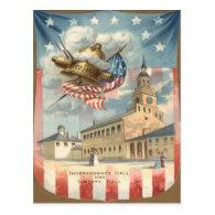 US Flag Independence Hall Liberty Bell Postcard
