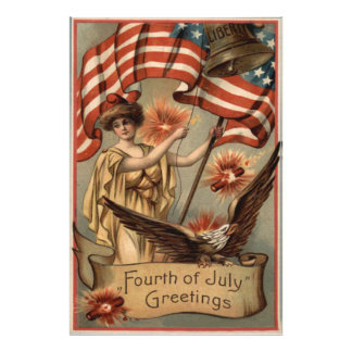 US Flag Lady Liberty Fireworks Firecracker Photo Print