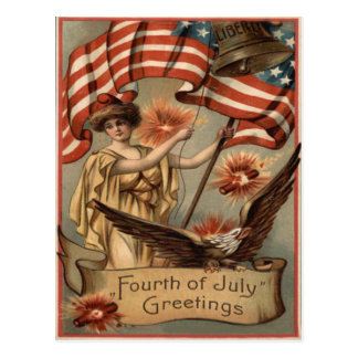 US Flag Lady Liberty Fireworks Firecracker Postcard
