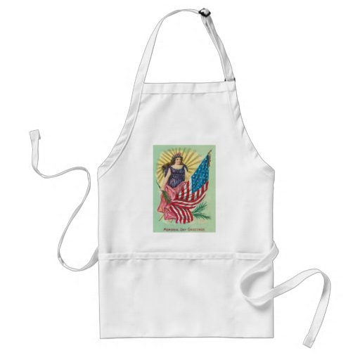 US Flag Lady Liberty Memorial Day Apron