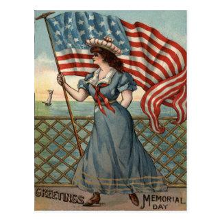 US Flag Lady Liberty Ocean Sailboat Postcard