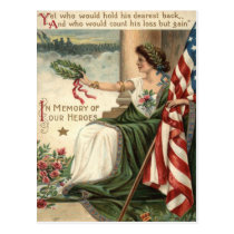 US Flag Lady Liberty Rose Soldiers Postcard