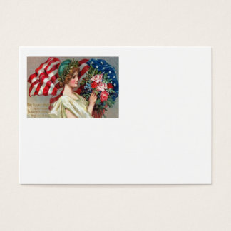 US Flag Lady Liberty Wreath Memorial Day Business Card
