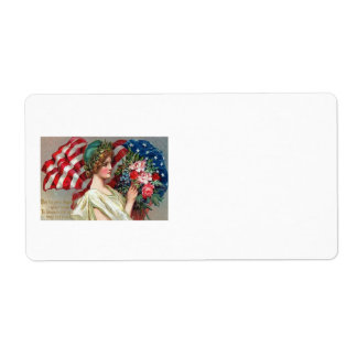 US Flag Lady Liberty Wreath Memorial Day Label