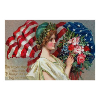 US Flag Lady Liberty Wreath Memorial Day Poster