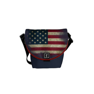 US Flag. Land of the Free, Home of the Brave Courier Bag