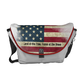 US Flag. Land of the Free, Home of the Brave Messenger Bag