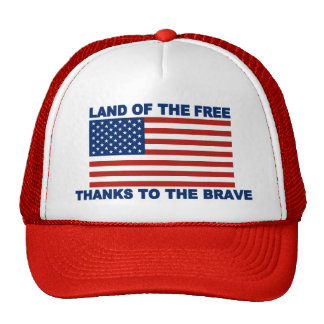 US Flag Land Of The Free Thanks To The Brave Trucker Hat
