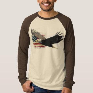 US Flag, Large Bald Eagle in Flight Design T-Shirt