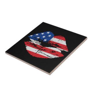 US Flag Lips Ceramic Tile