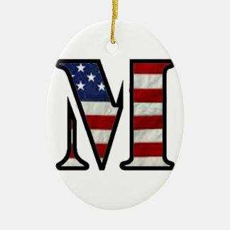 """US Flag """"M"""" Ceramic Ornament"""