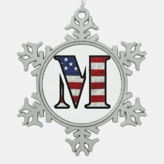 """US Flag """"M"""" Snowflake Pewter Christmas Ornament"""