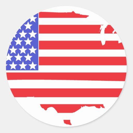 US FLAG MAP design Classic Round Sticker
