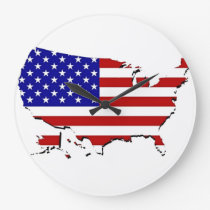 US Flag Map Large Clock