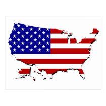 US Flag Map Postcard