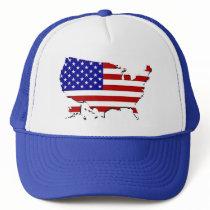 US Flag Map Trucker Hat