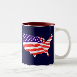 US Flag Map Two-Tone Coffee Mug
