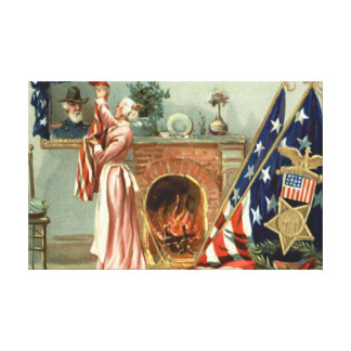 US Flag Medal Portrait Fireplace Canvas Print