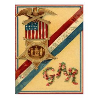 US Flag Medal Ribbon Eagle Cannon Flowers Postcard