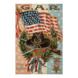 US Flag Medal Sword Rifle Wreath Poster