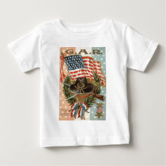 US Flag Medal Sword Rifle Wreath Tee Shirt