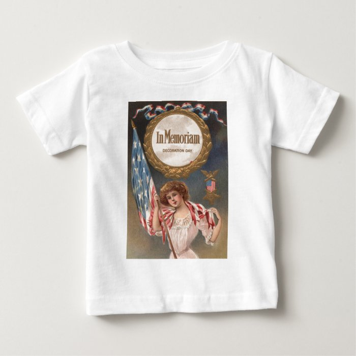 US Flag Medal Victorian Woman Wreath Baby T-Shirt