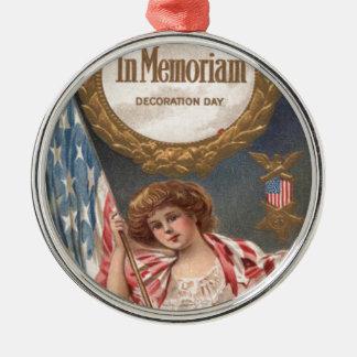 US Flag Medal Victorian Woman Wreath Metal Ornament