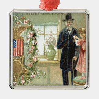 US Flag Medal Wreath Flowers Veteran Metal Ornament