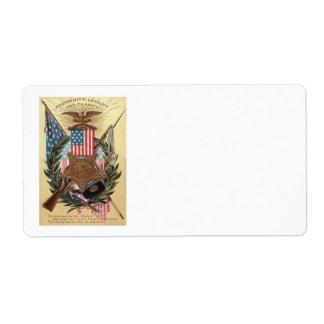 US Flag Medal Wreath Rifle Bayonet Label