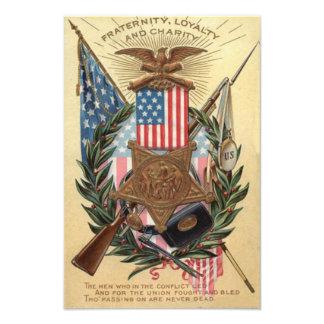 US Flag Medal Wreath Rifle Bayonet Photo Print