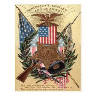 US Flag Medal Wreath Rifle Bayonet Postcard